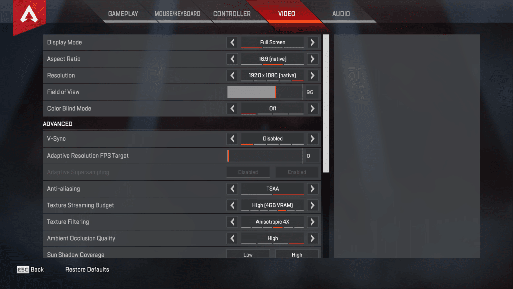 DrDisrespect Apex Legends Game Settings