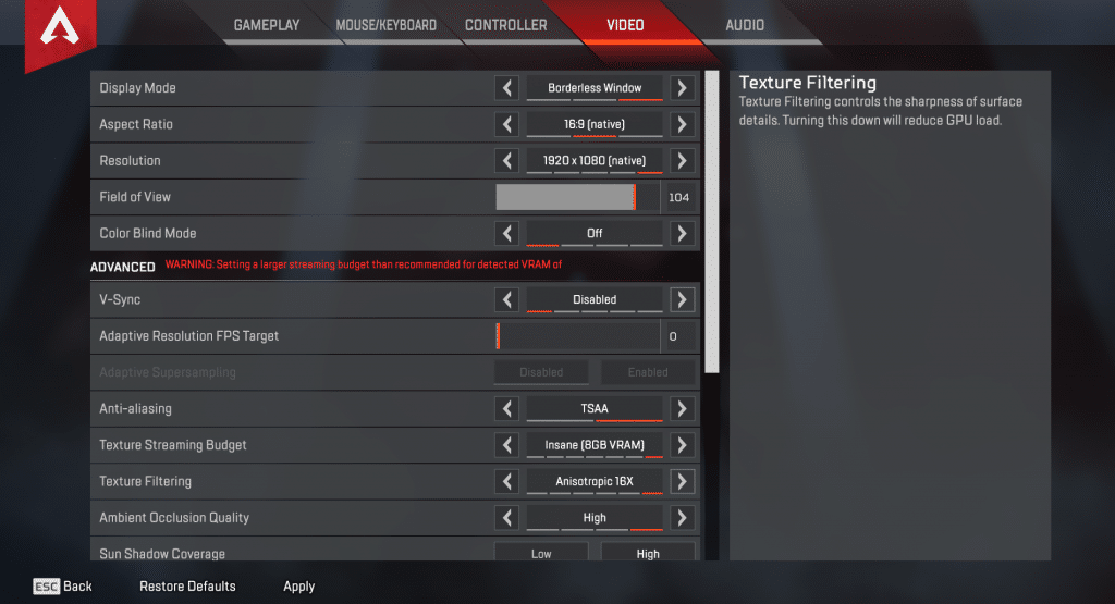 Ninja Apex Legends Video Settings