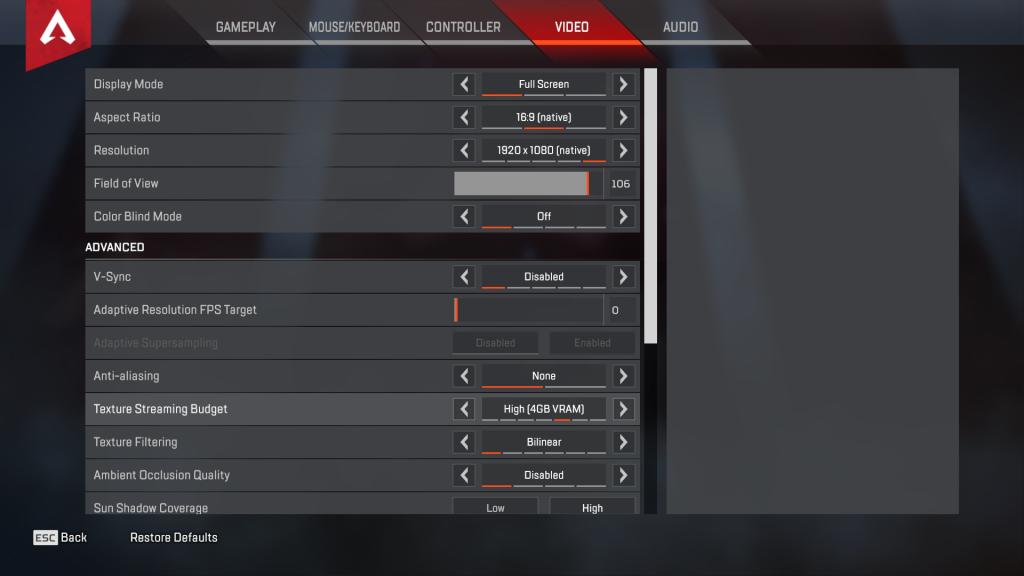 tfue apex legends settings