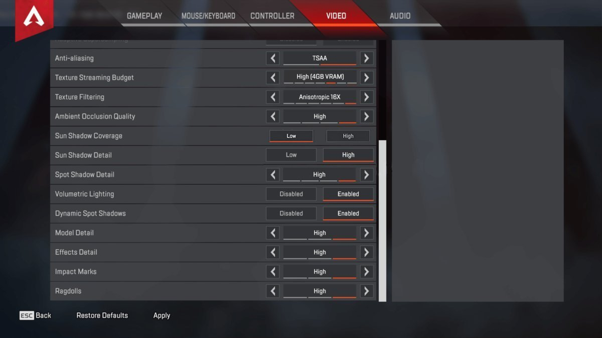 Viss Apex Legends Settings & Keybinds - September 2019